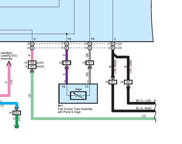 схема датчика уровня топлива Toyota JPG